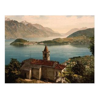 Carte Postale St Angelo et vue de Capello de Bellagio, lac Como