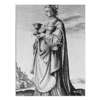 Carte Postale St Barbara, gravée à l'eau-forte par Wenceslaus