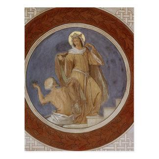 Carte Postale St Elisabeth donnant son manteau à un mendiant