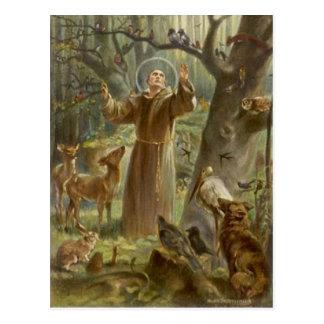 Carte Postale St Francis d'Assisi a entouré par des animaux