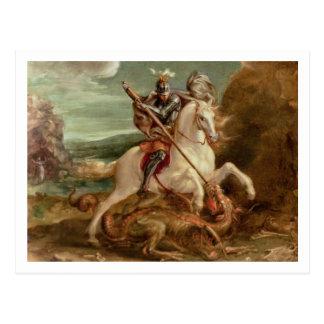 Carte Postale St George massacrant le dragon, (huile sur le