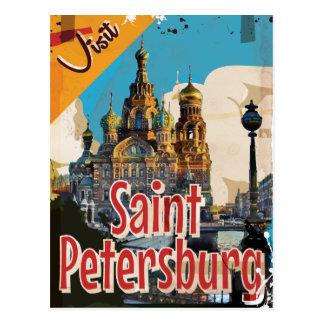 Carte Postale St Petersbourg, affiche vintage de voyage de la