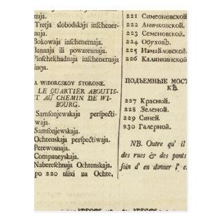Carte Postale St Petersbourg, page d'index de page 3 de titre de