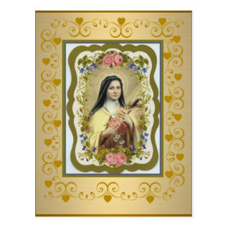 Carte Postale St Therese le petit coeur de crucifix de roses de