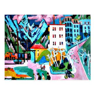 Carte Postale Station dans Davos, peinture d'Ernest Ludwig