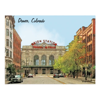 Carte Postale Station des syndicats, Denver, Co, voyage par