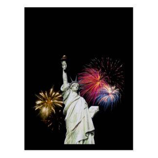 Carte Postale Statue de la liberté - arrière - plan de feux