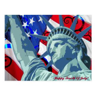 Carte Postale Statue de la liberté et du drapeau américain