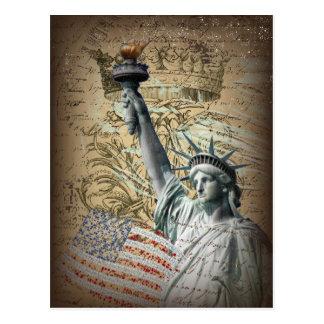 Carte Postale Statue de New York de manuscrits de la liberté