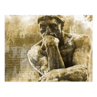 Carte Postale Statue en bronze affligée Auguste Rodin le penseur