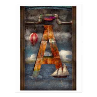 Carte Postale Steampunk - alphabet - A est pour l'aventure