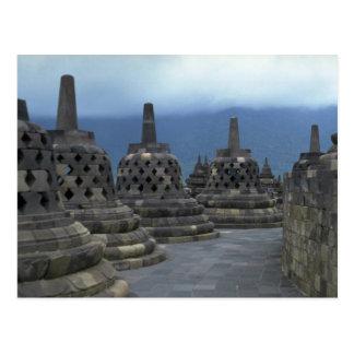 Carte Postale Structures de Bell, Borobudur, Java, Indonésie