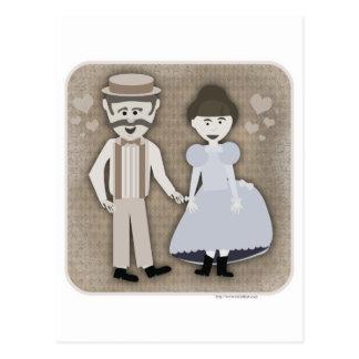 Carte Postale Style vintage de 1890s d'amour