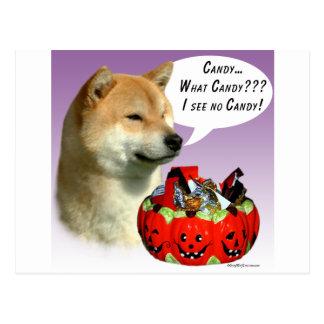 Carte Postale Sucrerie de Shiba Inu Halloween