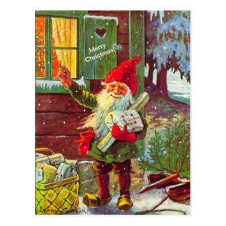 Carte postale suédoise vintage de Tomte de gnome