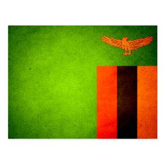 Carte Postale Sun a embrassé le drapeau de la Zambie