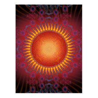 Carte Postale Sun psychédélique : Conception en spirale de
