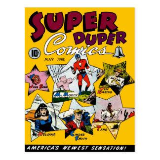 Carte Postale Superhéros vintage comique