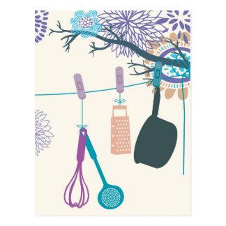 Carte Postale Supports de pot de cuisine de pays sur floral