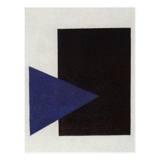 Carte Postale Suprematism avec la triangle bleue et le carré