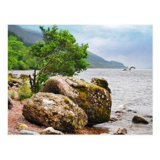 Carte Postale Sur les rivages de Loch Ness avec le monstre