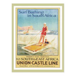 Carte Postale Surf vintage baignant l'Afrique du Sud