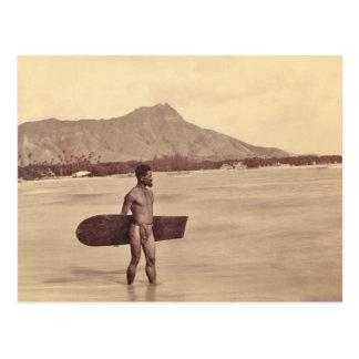 Carte Postale Surfer hawaïen indigène, C. 1890