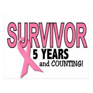 Carte Postale SURVIVANT de CANCER DU SEIN 5 ans et comptes