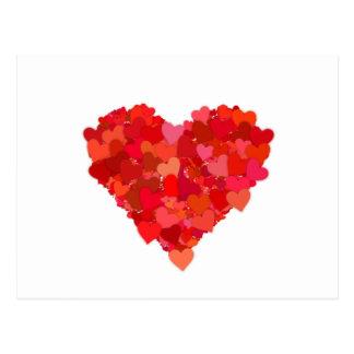 Carte Postale symbole de coeur et d'amour en rouge