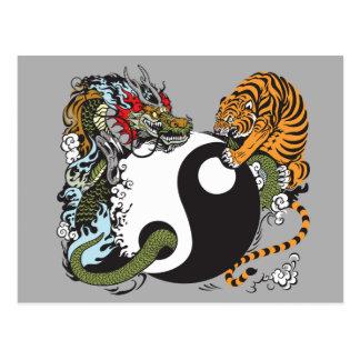 Carte Postale symbole de yang de yin de dragon et de tigre
