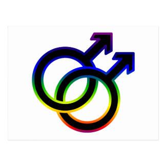 Carte Postale Symbole homosexuel masculin d'arc-en-ciel