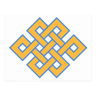 Carte Postale Symbole propice de noeud sans fin bouddhiste