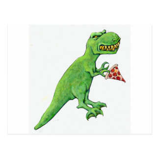 Carte Postale T-Rex avec la pizza
