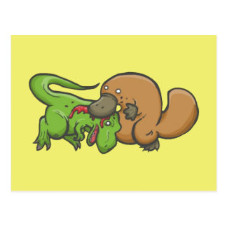 Carte Postale T-rex contre l'ornithorynque