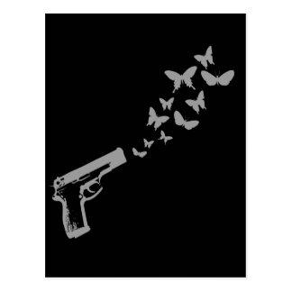 Carte Postale T-shirt d'arme à feu de papillon/T-shirt de jour