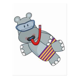 Carte Postale T-shirts et cadeaux de Snorkeler d'hippopotame