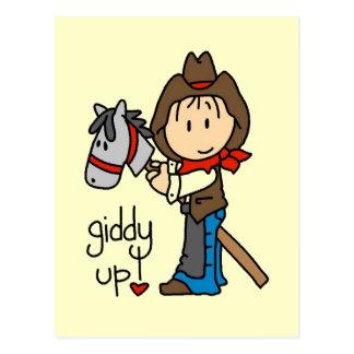 Carte Postale T-shirts et cadeaux hauts étourdis de cowboy