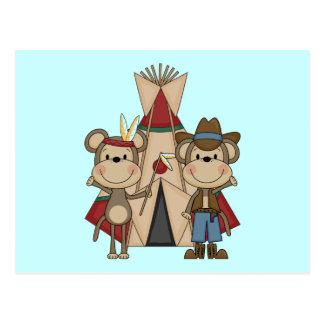 Carte Postale T-shirts et cadeaux occidentaux sauvages de singes