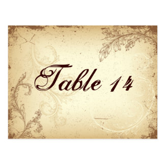 Carte Postale Table beige de mariage de feuille de rouleau de