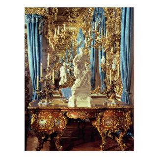 Carte Postale Table d'écriture et statue de Louis XV
