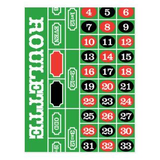 Carte Postale Tableau de roulette - jeu de casino à gagner