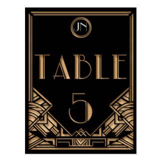 Carte Postale Tableau noir numéro 5 de style de Gatsby d'art