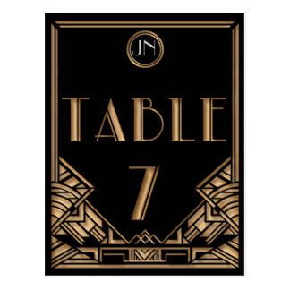Carte Postale Tableau noir numéro 7 de style de Gatsby d'art