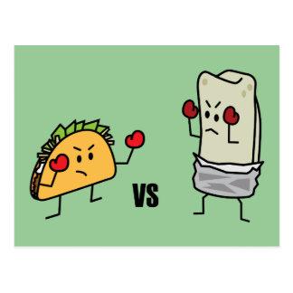 Carte Postale Taco contre le burrito