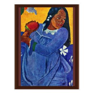 Carte Postale Tahitierin avec la mangue par Gauguin Paul