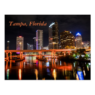 Carte Postale Tampa, la Floride, ville allume l'horizon par nuit