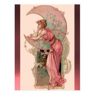 CARTE POSTALE TAROTS/DAME OF THE MOON WITH FLEURIT DANS LE ROSE
