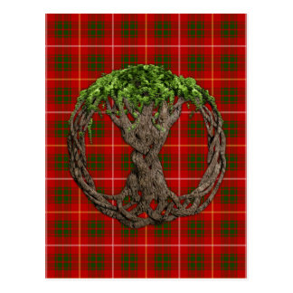 Carte Postale Tartan de Bruce de clan et arbre de la vie