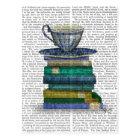 Carte Postale Tasse de thé et livres