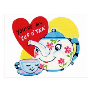 Carte Postale Tasse de thé Valentine
